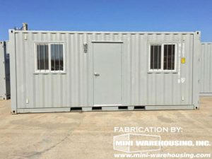 storage container with windows and a door