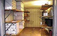 storage container organized with shelving