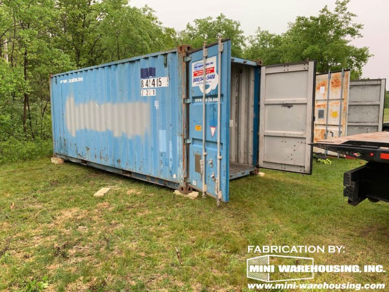 used blue storage container